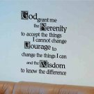 wall quote decal God grant me the Serenity to accept, living room wall decor