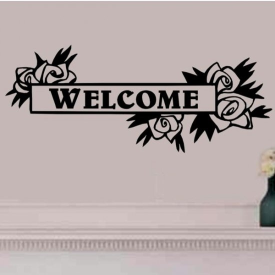 Floral framed welcome wall decal 16 inches tall by 40 inches wide