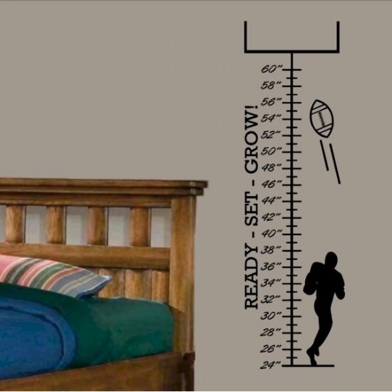 Kids Growth Chart wall decal with foot ball player and goal boy or girls bed room