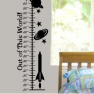 Kids Growth Chart wall decal with space ship, planets and stars boy or girls bed room