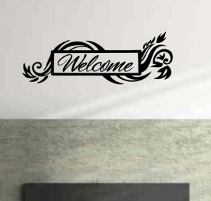 Floral framed welcome wall decal 10 inches tall by 28 inches wide.