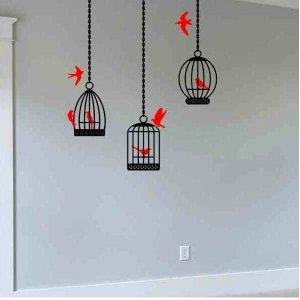 wall decal 3 bird cages 7 birds living room wall decor