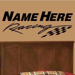 wall decal personalized racing flag single color bed room wall decor