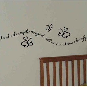 wall quote sticker decal just when the caterpillar thought boy or girls room wall decor