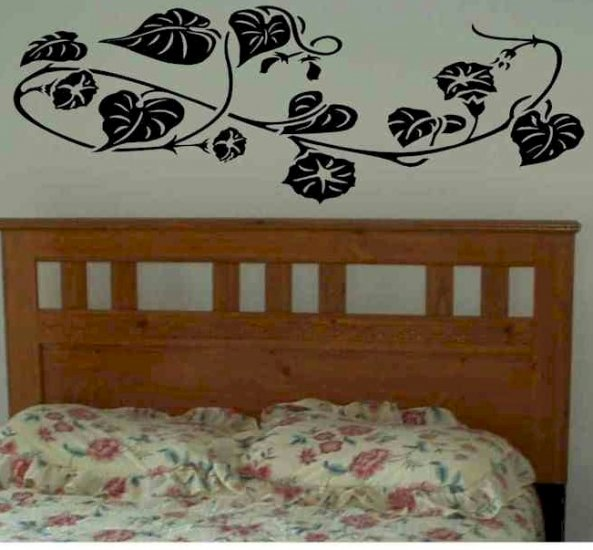 wall sticker decal morning glory plant branch with leaves