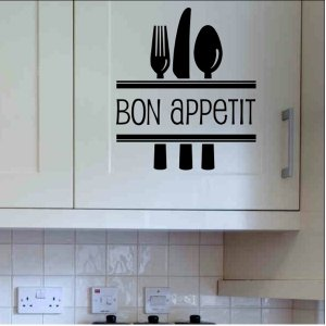 wall quote sticker decal Bon Appetit with silverware kitchen wall decor