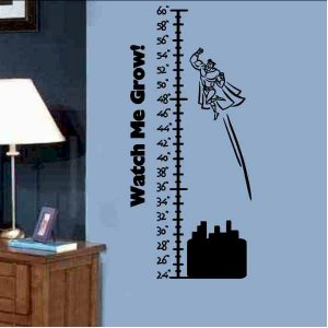 Kids Growth Chart wall sticker decal with flying Super Hero boy or girls bedroom