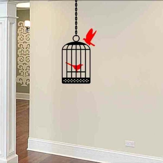 wall sticker decal bird cage with birds living room wall decor