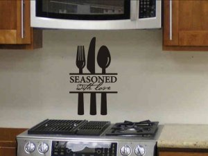 kitchen wall sticker quote decal seasoned with love with silverware