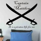 kids room wall sticker decal personalized pirate crossed swords