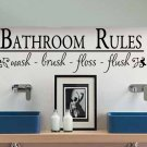 wall quote sticker decal bathroom rules wash brush floss flush