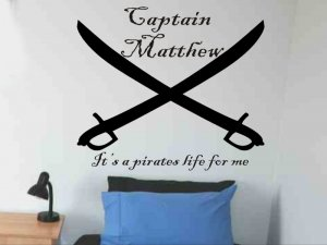 2 kids room wall sticker decal personalized pirate crossed swords