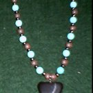 Hematite Double Heart Turq. & Red Howlite Necklace