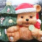 TEDDY BEAR with SUCKER & CHRISTMAS TREE COOKIE JAR NR