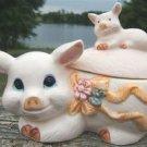 PIG FAMILY SUGAR BOWL & CREAMER 3 PIECE SET