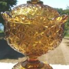 VINTAGE INDIANA GLASS AMBER FOOTED CANDY DISH & COVER