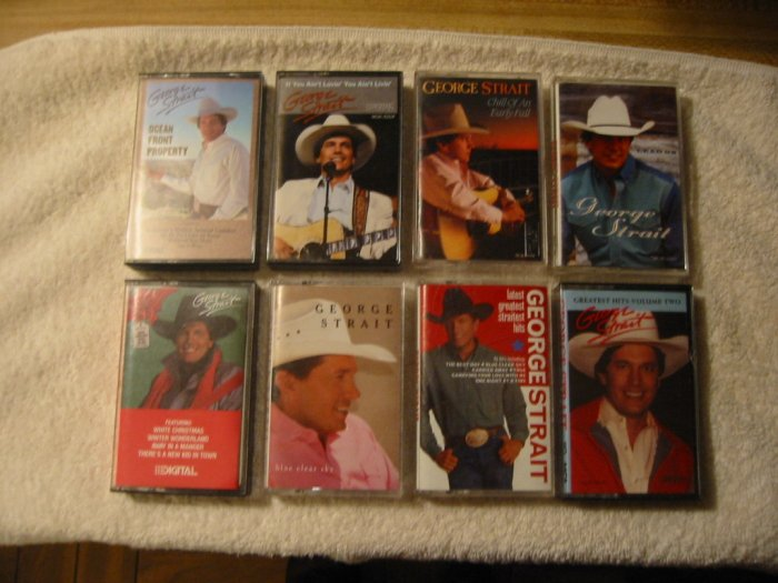 Set of eight George Strait cassettes (sold as a set only)