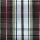 "10 YARDS KHAKI WHITE BURGUNDY TARTAN PLAID FABRIC 60"" WIDE"