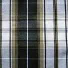 "10 YARDS BLACK WHITE KHAKI TARTAN PLAID FABRIC 60"" WIDE"
