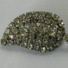 Vintage Faceted Rhinestone Brooch Pin Leaf