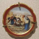 Miniature Antique Limoge Porcelain Plate Peasants Working in Field