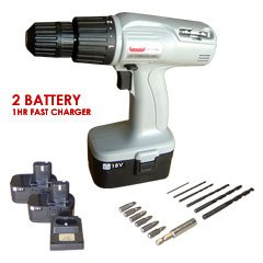 18v Cordless Drill Gray With 2 Battery