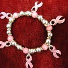 Breast Cancer Pink ribbons with jade and silver beads