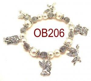 Wholesale Silver beaded Angel charm Bracelet