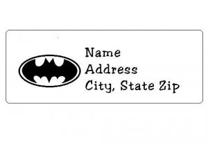 30 Personalized Batman Logo Return Address Labels