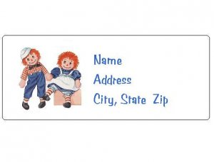 30 Personalized Raggedy Ann and Andy Return Address Labels