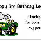 10 Personalized Green Tractor John Deere Party Goody Bag Labels