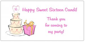 10 Personalized Sweet Sixteen (16) Party Goody Bag Labels