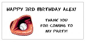 10 Personalized Baseball Party Goody Bag Labels