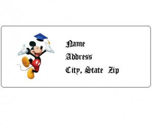 30 Personalized Mickey Mouse Graduation Return Address Labels