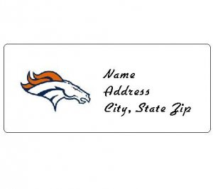 30 Personalized NFL Denver Broncos Return Address Labels
