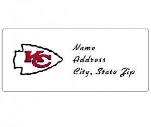 30 Personalized NFL Kansas City Chiefs Return Address Labels