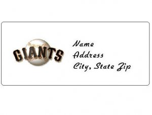30 Personalized MLB San Francisco Giants Address Labels