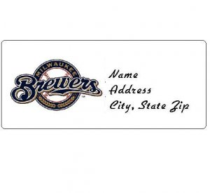 30 Personalized MLB Milwaukee Brewers Address Labels
