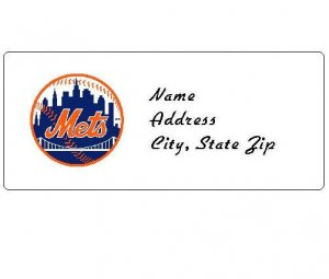 30 Personalized MLB New York Mets Address Labels