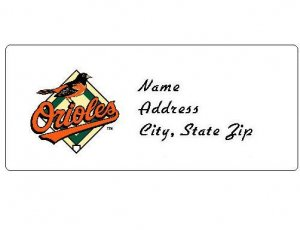 30 Personalized MLB Baltimore Orioles Address Labels
