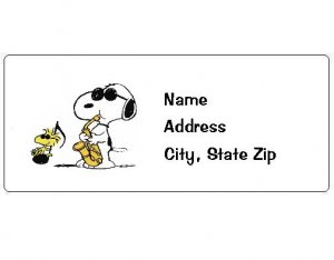 30 Personalized Snoopy and Woodstock Playing Music Return Address Labels