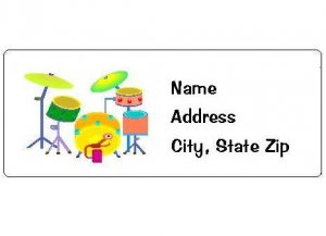 30 Personalized Colorful Drums Return Address Labels
