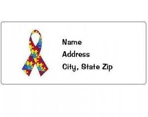 30 Personalized Autism Awareness Ribbon Return Address Labels