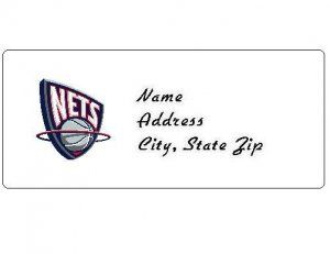 30 Personalized NBA New Jersey Nets Return Address Labels