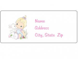 30 Personalized Baby Girl Precious Moments Return Address Labels