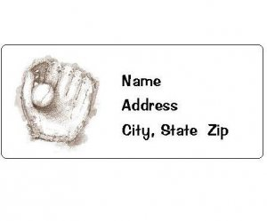 30 Personalized Baseball Glove and Ball Return Address Labels