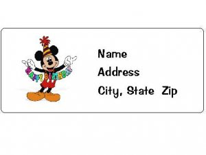 30 Personalized Birthday Mickey Mouse Return Address Labels