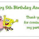 10 Personalized Spongebob Squarepants and Patrick Party Goody Bag Labels