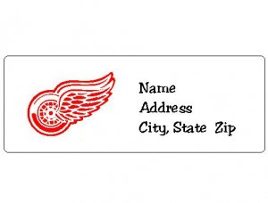 30 Personalized NHL Hockey Detroit Red Wings Return Address Labels