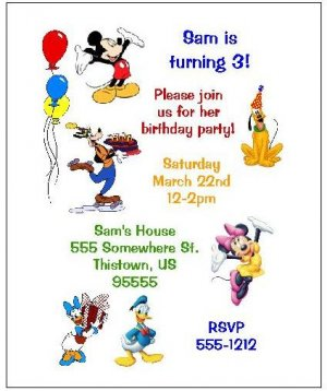 8 Personalized Mickey Mouse and Friends Clubhouse Birthday Invitations